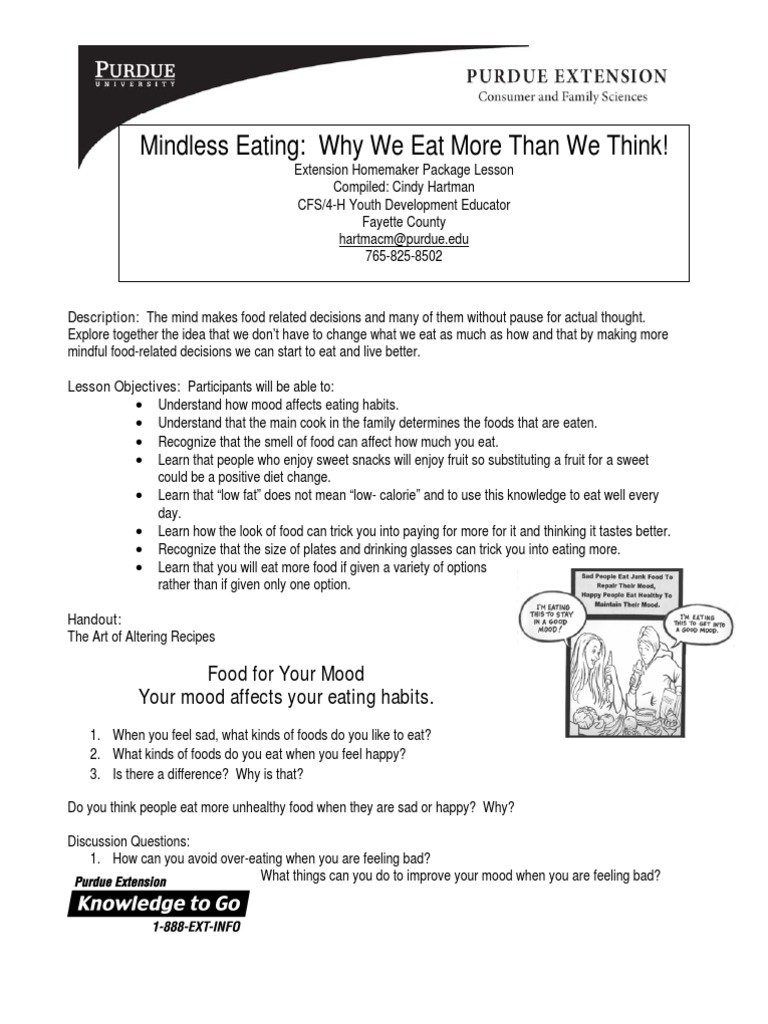 Mindless Eating | Eating | Flour