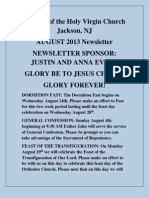 Nativity of the Holy Virgin Church - Newsletter #12