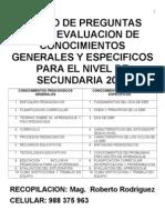 Banco de Preguntas Para Evaluacion de Conocimientos Generales 2013
