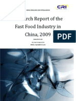 Research Report of the Fast Food Industry in China, 2009