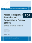 Access to Preprimary Education and Progression in Primary School- Evidence From Rural Guatemala