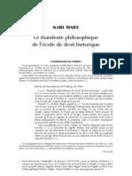 Marx Le Manifeste Philosophique de l Ecole Du Droit Historique