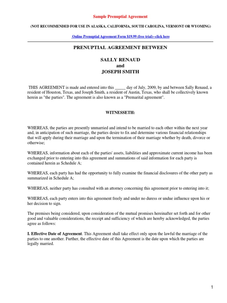 Sample Prenuptial Agreement Form | Probate | Will And Testament