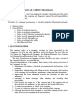 Duties and Functions of Company Secretary