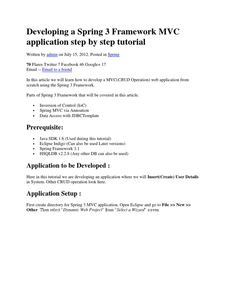 Java step by step tutorial for beginners choice image any tutorial developing a spring 3 framework mvc application step by step developing a spring 3 framework mvc baditri Gallery