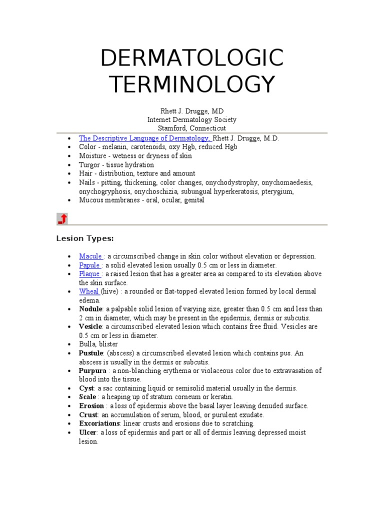 Dermatologic Terminology | Cutaneous Conditions | Skin