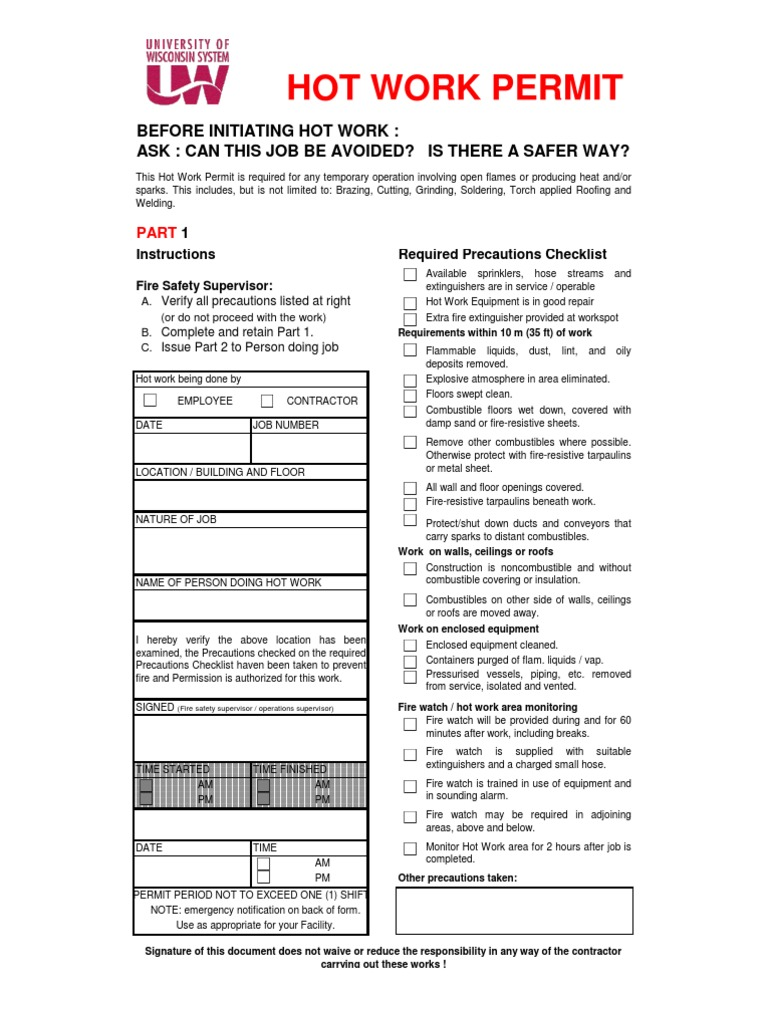 Stunning Hot Work Permit Template Photos - Entry Level Resume ...