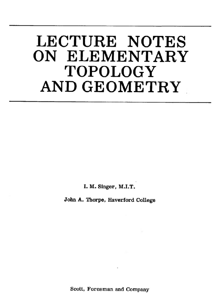 Singer Thorpe - Lecture Notes on Elementary Topology and