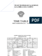 Time Table Semester 1 2013-2014