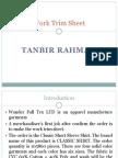 Work Trim Sheet