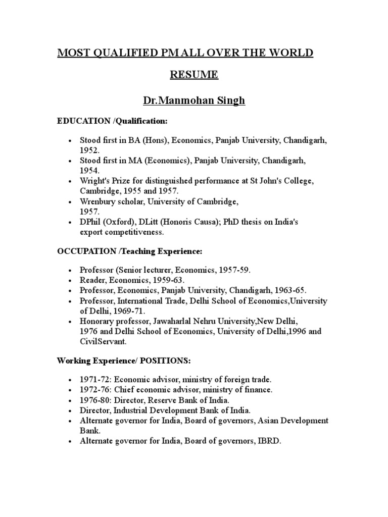 Resume - Best One - Have a Look | Government Of India | Government
