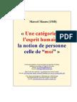 Marcel Mauss - La Notion de Personne