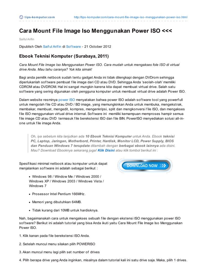 Tips-komputer.com-Cara Mount File Image Iso Menggunakan Power ISO