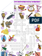 Musical Instruments Vocabulary Criss Cross Crossword Puzzle Worksheet