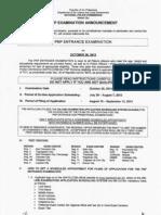 PNP Entrance Exam Requirements - Oct 2013