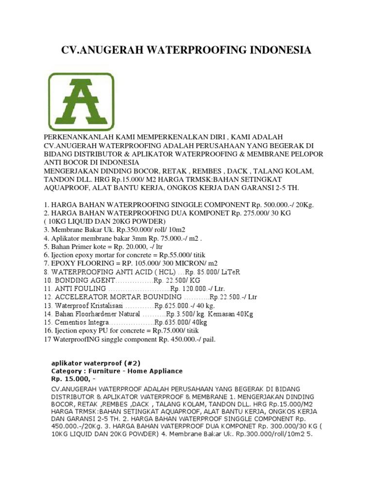Waterproofing Aquaproof 20 Kg