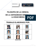 FILOSOFÍA DE LA CIENCIA. DE LA ANTIGÜEDAD GRIEGA A LA EDAD MEDIA