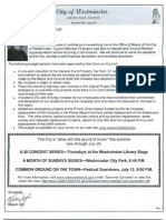City of Westminster Maryland News and Notes newsletter for July 2013 Vol5 Issue 3a