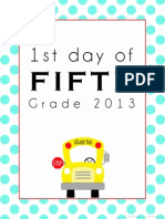 First Day of School Printable - Fifth
