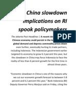 China slowdown implications on RI spook policymakers