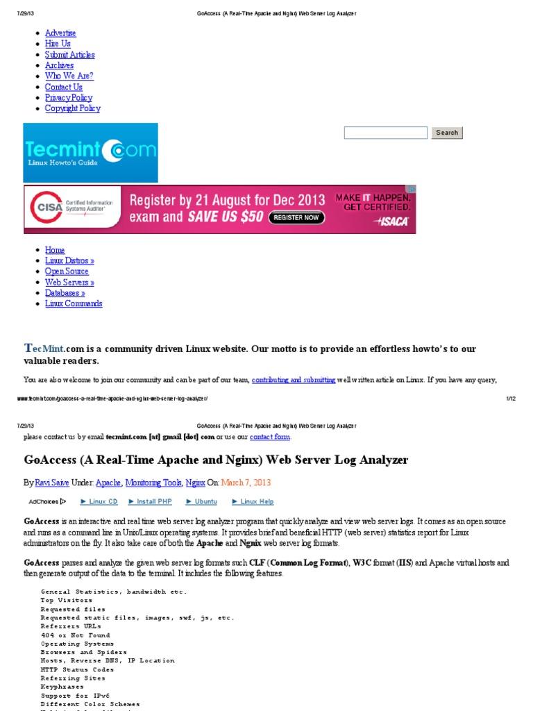 GoAccess (A Real-Time Apache and Nginx) Web Server Log Analyzer pdf