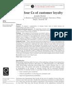 Jennifer Rowley (2005) the Four Cs of Customer Loyalty