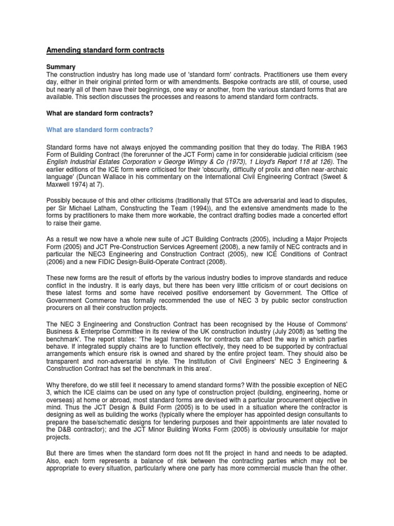 Amending standard form contracts contractual term procurement falaconquin