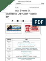 International Events Bratislava July 29th-August 4th