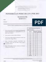 Percubaan Negeri Kelantan Kertas 2 Matematik 2013