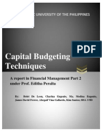 Summary of Capital Budgeting Techniques Gitman