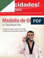 ¡Felicidades Uriel Adriano! Medalla de Oro en Tae Kwon Do