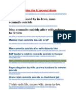 Collection of articles of male/husband suicides in India due to spousal abuse.