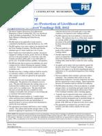 Bill Summary-Street Vendors (Protection of Livelihood and Regulation of Street Vending) Bill_ 2012