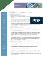 Holiday Energy Saving Tips Fact Sheet