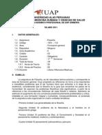 Silabo de Filosofia - Eap de Enfermeria - Uap 2011- Villanueva