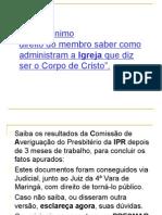 I IGREJA PRESBITERIANA RENOVADA DE MARINGÁ (PPTminimizer)