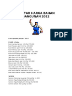 Daftar Harga Bahan Bangunan 2012