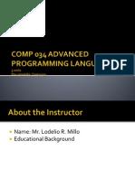 Comp 034 Advanced Programming Language
