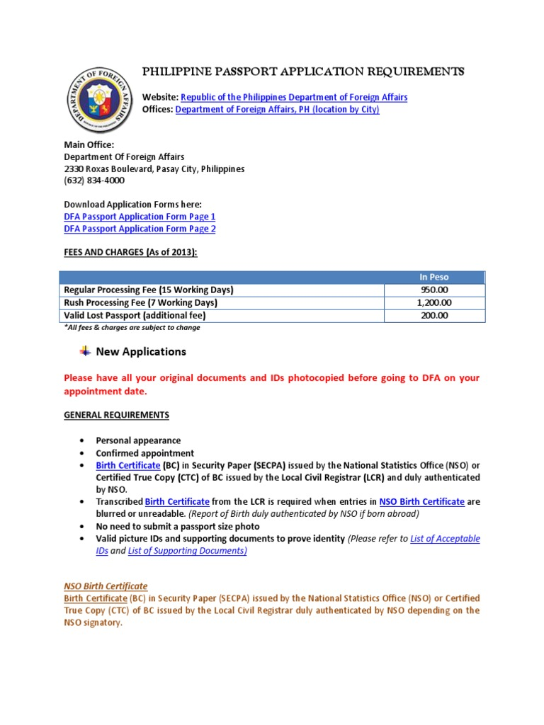Philippine Passport Application Requirements Birth Certificate