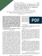 Spectrophotometric Determination of Hydrazine with Para-(Dimethylamino) Benzaldehyde in Aqueous Streams of Purex Process