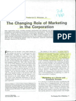 The Changing Role of Marketing in the Corporation