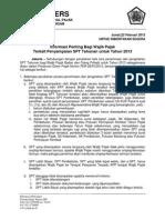 SIARAN PERS - Informasi Penting Bagi Wajib Pajak