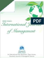 Vol 1, Iss 1, July 2013 (MERC Global's International Journal of Management)   http://www.mercglobal.org/ijm-vol1-issue1-july2013.html