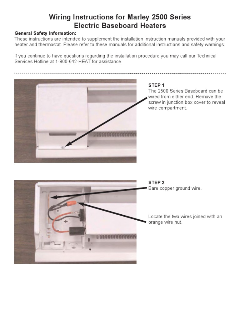 wiring instructions for marley 2500 series electric baseboard rh scribd com wiring for baseboard heater 240v wiring for baseboard heater thermostat