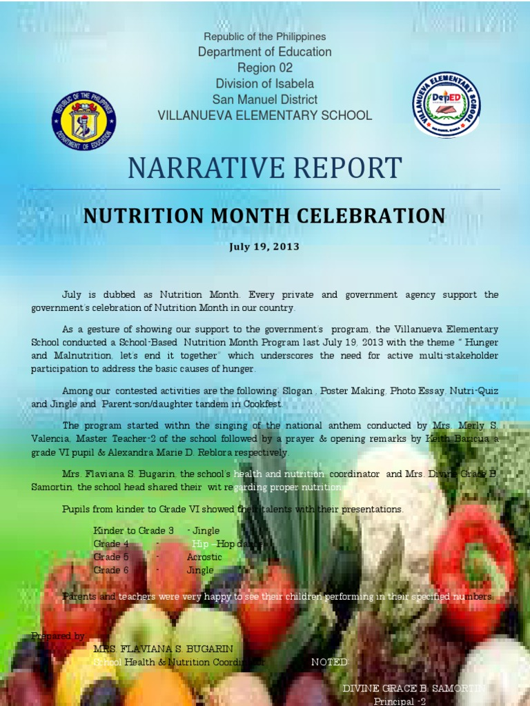 Narrative report on nutrition month altavistaventures Image collections