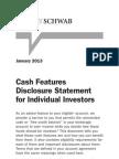 Charles Schwab Cash Features Disclosure Statement for Individual Investors