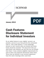 Charles Schwab Cash Features Disclosure Statement for Individual Investors