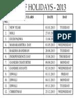 Holiday List 2013