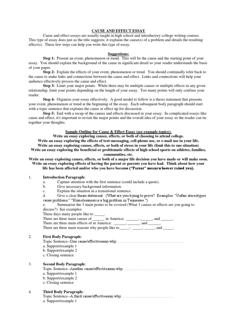 cause and effect essay essays causality