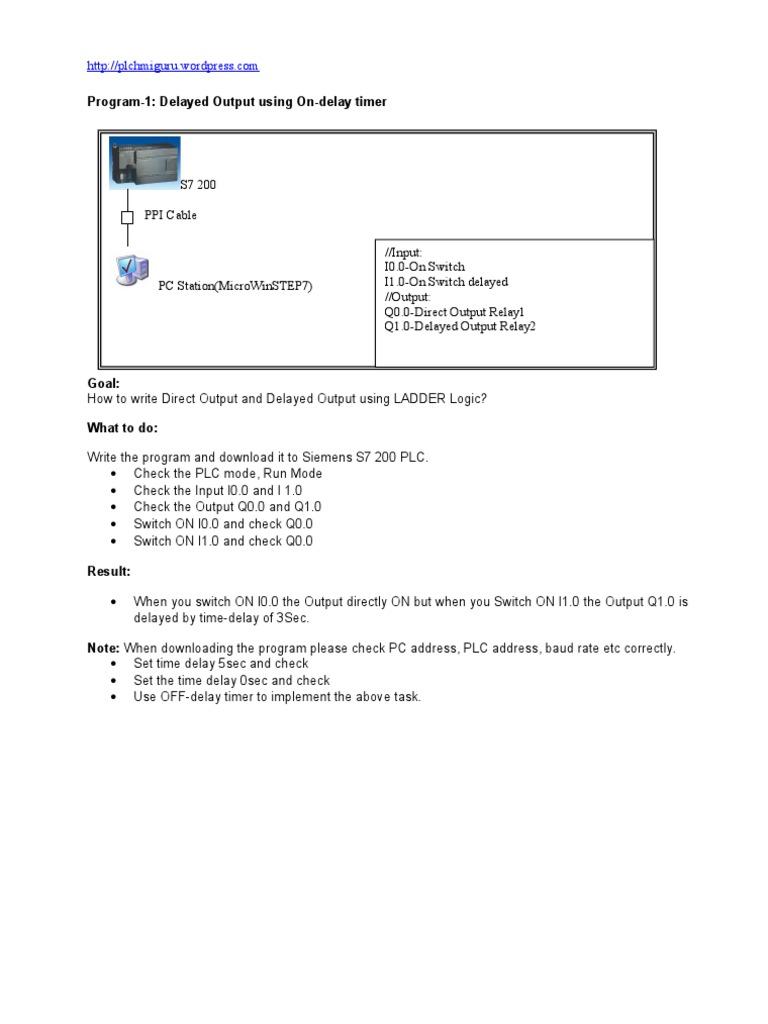 s7 200 Example Programs   Input/Output   Traffic Light